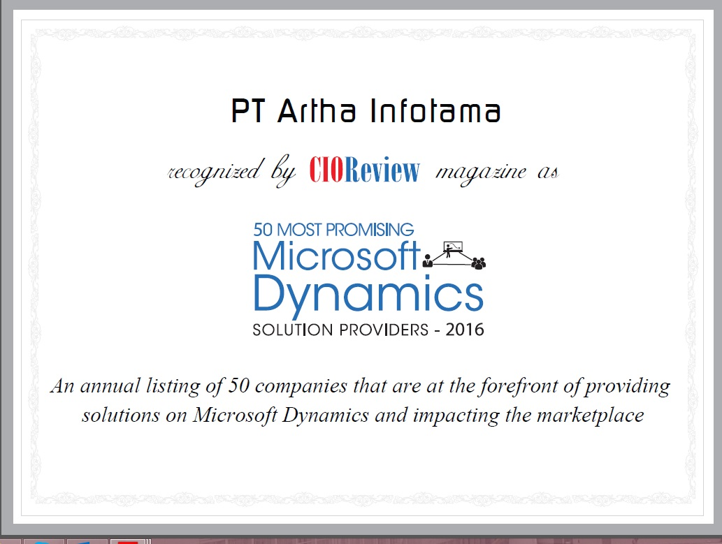 50 Most Promising Microsoft Dynamics Solution Provider 2016