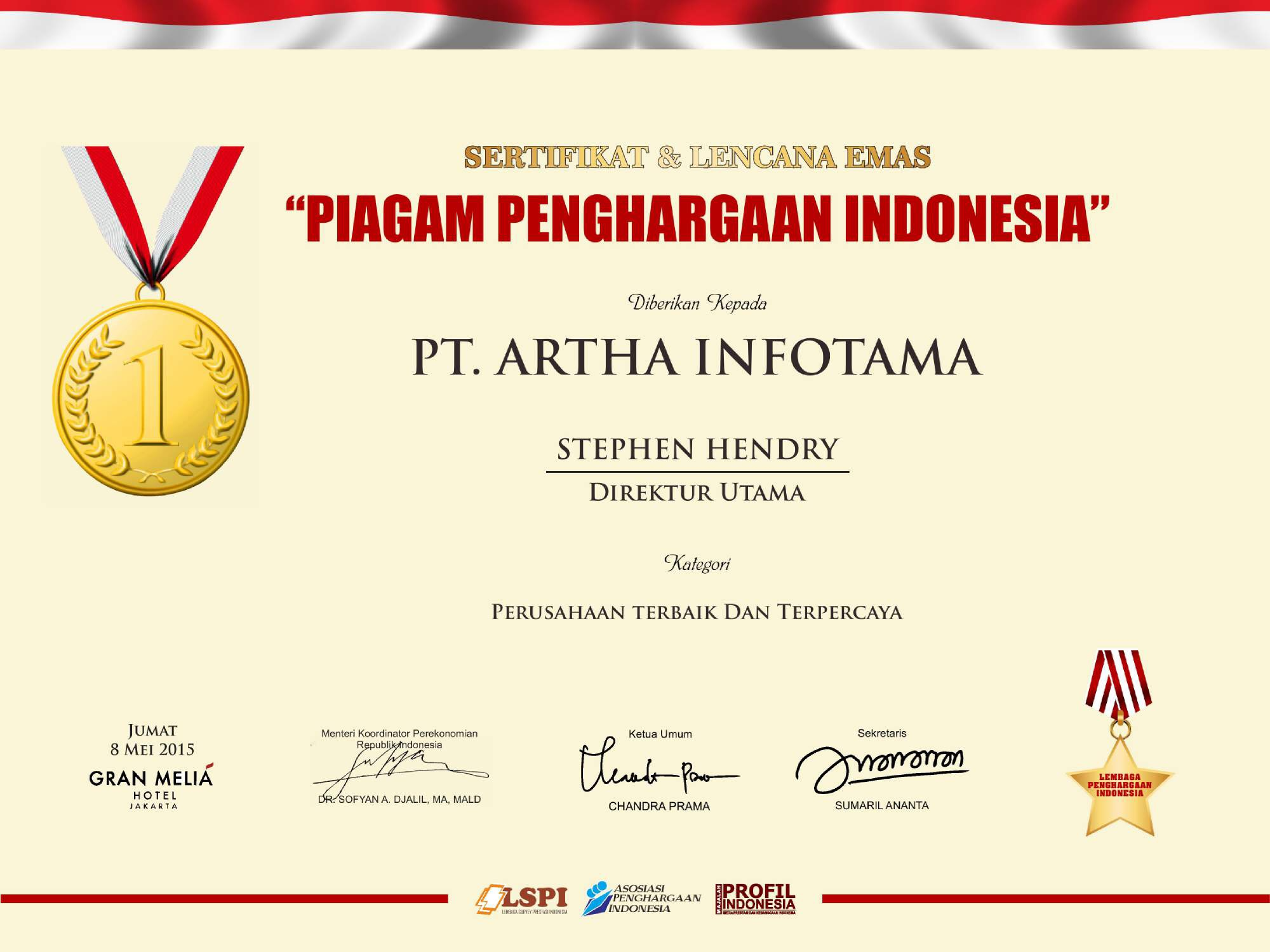 Piagam Penghargaan Indonesia - The Best & Trusted Company 2015